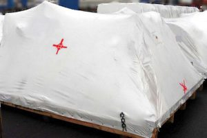 Fertig verpacktes Exportgut in Schrumpffolie
